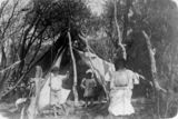 Picture relating to Tweed River - titled 'Family camping at Tweed River, New South Wales, 1905'
