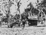 Picture relating to Stanthorpe - titled 'People gathered around a wagon outside the Wheal Edith Mine office at Stanthorpe, 1872'