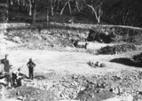Picture relating to Black Mountain - titled 'Workman in the excavation of the reservoir at Black Mountain'