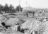 Picture relating to Forrest - titled 'Drainage trenches along a power line in Forrest. Concrete drain pipes along the trench, Kingston Power Station in background.'