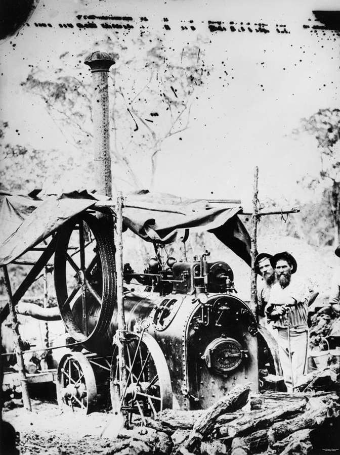 Picture of / about 'Stanthorpe' Queensland - Prospectors with a portable steam engine on the Stanthorpe tin field