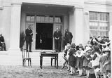 Picture relating to Ainslie - titled 'Prime Minister, Right Honourable SM Bruce opening Ainslie School, Donaldson Street, Ainslie.'