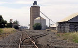Picture relating to Minyip - titled 'Railway Station and wheat silos Minyip'