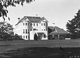 Picture relating to Canberra - titled 'Government House, Yarralumla, private entrance. Canberra residence of the Governor General.'