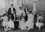 Picture relating to Warra - titled 'Portrait of a wedding party at Warra, Queensland, 1913'