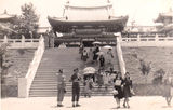 Picture relating to Brisbane - titled 'Brisbane, B.C.O.F. soldiers outside Temple - Japan 1946'