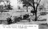 Picture of / about 'Charleville' Queensland - Bullock team bringing a load of wool across Bradley's Gully Bridge, Charleville, ca. 1898