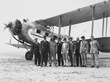 Picture relating to Canberra - titled 'Second Conference of 65th District of Rotary Delegates arriving in the aeroplane called 'Canberra', a De Havilland 61 Giant Moth.'