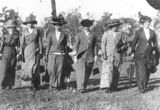 Picture relating to Queensland - titled 'Row of women walking through a field, 1910-1920'