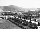 Picture relating to Parliament House - titled 'Albert Hall from Old Parliament House showing young trees and Black Mountain'