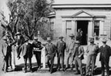 Picture relating to Charleville - titled 'Group of gentlemen outside the Commercial Bank building in Wills Street, Charleville, ca. 1905'