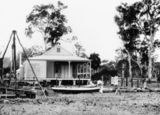 Picture relating to Ingham - titled 'Man painting a boat in the garden of Harriett and Donald Brims' residence, Ingham, ca. 1894-1903'