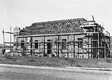 Picture relating to Braddon - titled 'Salvation Army Hall, Elouera and Fawkner Streets, Braddon, under construction.'