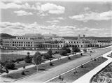 Picture of / about 'Parliament House' the Australian Capital Territory - Old Parliament House from West Block, looking across the Senate Gardens and tennis courts.