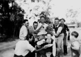 Picture relating to Thulimbah - titled 'Party after a game of bocce, Thulimbah, ca. 1949'