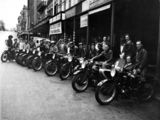 Picture relating to Brisbane - titled 'Members of the Brisbane Motorcycle Fishing Club, Adelaide Street, Brisbane, 1938'