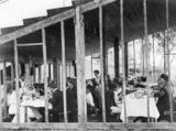 Picture relating to Inglewood - titled 'Luncheon under the grandstand at Inglewood Racecourse, ca. 1910'