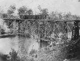 Picture relating to Burrum River - titled 'Construction of the bridge over the Burrum River, 1884'