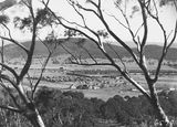 Picture relating to Limestone Avenue - titled 'Braddon from Mt Ainslie to Black Mountain, Ainslie Hotel, Limestone Avenue in the centre.'