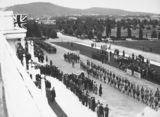 Picture relating to Isaacs - titled 'Anzac Day 1933. Boy Scouts marching past the Govenor General Sir Isaac Isaacs in front of Old Parliament House.'