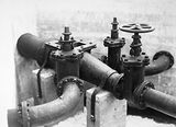 Picture relating to Weston Creek - titled 'Weston Creek sewerage treatment works, distribution valves and pipes.'