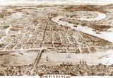 Picture of / about 'Brisbane' Queensland - Sepia drawing of Brisbane, 1888