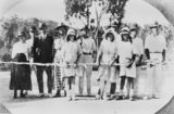 Picture relating to Glen Aplin - titled 'Tennis party at Frank Perkins' home and orchard, Glen Aplin, ca. 1925'