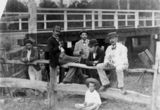 Picture relating to Ipswich - titled 'Unidentified group at a fence near a bridge, 1890-1900'