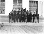 Picture relating to Canberra - titled 'Visit to Canberra of Royal Navy Officers from HMS Renown - Party on the steps of Old Parliament House'