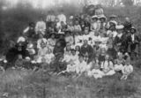 Picture of / about 'Yarraman' Queensland - Large group of people enjoying an outdoor gathering at Yarraman, about 1910
