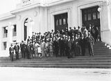 Picture of / about 'Parliament House' the Australian Capital Territory - 15th Australian Provincial Press Conference - Delegates on the steps of Old Parliament House