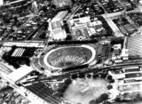 Picture of / about 'Brisbane' Queensland - Aerial view of a display at the Exhibition Ground for Queen Elizabeth II, Brisbane, 1954