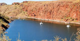 Picture relating to Lake Argyle - titled 'Small boat mooring Harbour Lake Argyle'