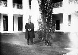 Picture relating to Parliament House - titled 'Mr. Barr, member of the House of Commons in the courtyard of Old Parliament House during his visit.'