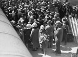 Picture relating to Scullin - titled 'Arrival of Mr and Mrs. Scullin at Canberra Railway Station. Part of the welcoming crowd.'