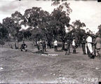 Picture relating to Ainslie - titled 'Opening the Mt Ainslie rifle range - Sir John Butters taking the first shot'