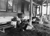 Picture relating to Home Hill - titled 'Flood damage at Home Hill Railway Station, ca. 1940'
