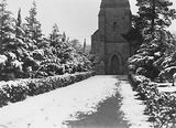 Picture relating to Reid - titled 'Trees at entrance to Sir John's Church, Reid under snow .'