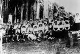 Picture relating to Beechmont - titled 'Group of people gathered for a sports day at 'Bonnie Brae', Beechmont, Queensland, ca. 1915'