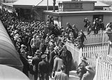 Picture relating to Scullin - titled 'Arrival of Mr J. H. Scullin newly elected Prime Minister at Canberra railway station with welcoming crowds.'
