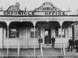 Picture relating to Toowoomba - titled 'On the steps of the Toowoomba Chronicle newspaper office, ca. 1894'