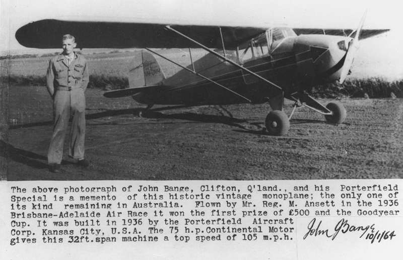 Picture of / about 'Clifton' Queensland - Unique Porterfield Special aircraft with owner John Bange, ca. 1950