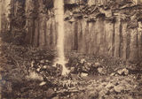 Picture relating to Killarney - titled 'Men seated on rocks at the base of the Daggs Waterfall at Killarney, near Warwick, ca. 1887'