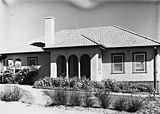 Picture relating to Forrest - titled 'Oakley and Parkes Cottage and gardens on National Circuit, Forrest.'