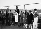 Picture relating to Canberra - titled 'Dr Earle Page speaking at the opening of the new Canberra Tennis Association Central Courts, Manuka.'