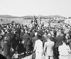 Picture relating to Barton - titled 'Foundation Stone ceremony for Masonic Lodge Canberra 'This Stone Was Laid By Most Worshipful Brother William Thompson PGM On November 23 1935. National Circuit, Barton. National Library on right.'