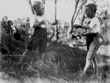 Picture relating to Sandy Cape - titled 'Brothers Clarence and Esmond Byrne boxing, Fraser Island, 1908'