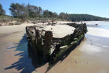 "Picture relating to Buster - titled 'Shipwreck ""Buster"" on Woolgoolga Beach '"