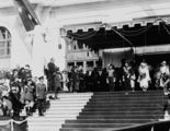 Picture relating to Bruce - titled 'Royal Visit May 1927 - Prime Minister Rt Hon S M Bruce welcoming the Duke and Duchess of York, on the steps of Old Parliament House.'