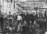Picture relating to Brisbane - titled 'Workers at Rosewarne's Meatworks, Brisbane, 1915'